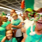 Supporters of Special Olympic athletes show their colours in the terminal.