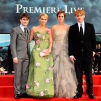 (L-R) Daniel Radcliffe, JK Rowling, Emma Watson and Rupert Grint at the world premiere of Harry Potter And The Deathly Hallows: Part 2.