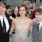 (L-R) Rupert Grint, Emma Watson and Daniel Radcliffe arriving for the world premiere of Harry Potter And The Deathly Hallows: Part 2 in London.