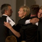 A woman embraces Norway's Prime Minister Jens Stoltenberg, left, at the end of today's memorial service at Oslo Cathedral in the aftermath of the attacks on Norway's government headquarters and a youth retreat. (AP Photo/Matt Dunham)