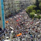 This image from the Syrian Revolution 2011 page shows the massive protests underway in Hama. The images emerging from Syria today are the most verifiable yet and show the scale of the demonstrations has swelled considerably.