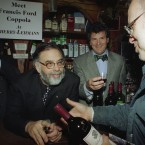 Director Francis Ford Coppola (centre) owns a number of wineries in California and has been making wines since 1977. His company also makes a line of pastas and pasta sauces. Pic: AP Photo/Arnie Schlissel