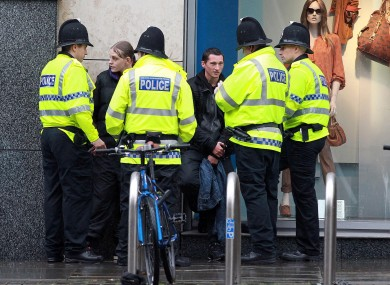 Police speak to people in Manchester City Centre