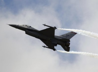 An F-16 jet similar to those which escorted two US commercial flights last weekend.