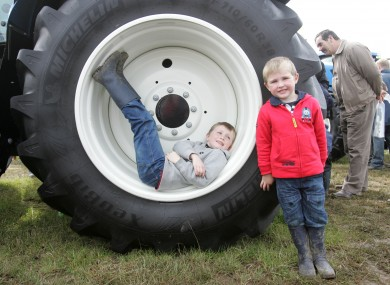 Eoghan Mills, 7, and his brother Conor, 4, at last year's National Ploughing Championships in Athy