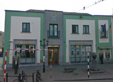 The Bank of Ireland on Parliament Street in Kilkenny, where former Kilkenny hurler Adrian Ronan was asked to take €3m by a gang who kidnapped his wife.