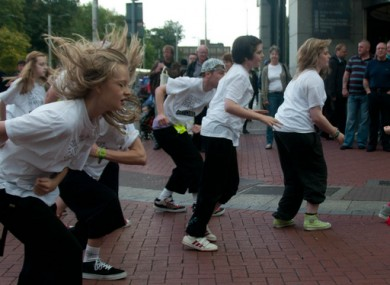 Volunteers from Pieta House - a centre for suicide prevention - hold a flashmob on Grafton Street to highlight World Suicide Awareness Day.