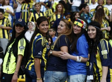 Fenerbahce fans enjoy the atmosphere on Tuesday night.