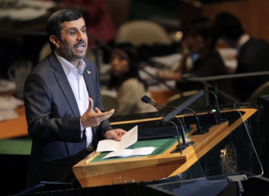 ranian President Mahmoud Ahmadinejad speaks during the 66th session of the General Assembly at United Nations headquarters.