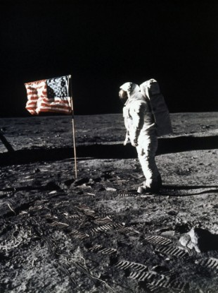 Astronaut Edwin 'Buzz' Aldrin during the Apollo 11 mission to the moon on July 20, 1969.