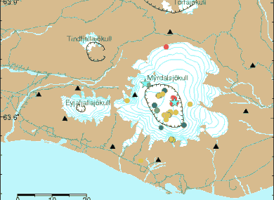 The seismic activity has clustered underneath Katla, which is outlined by the large black ring on the right.