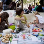 Mika, left age 6, Jacob, age 5, and Sonnet, play in a special section set-aside for Parents for Occupy Wall Street of the Occupy Wall Street protests, in Zuccotti Park yesterday. (AP Photo/Andrew Burton/PA)