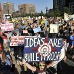 Demonstrators with Occupy Boston march through Boston yesterday. (AP Photo/Josh Reynolds/PA)