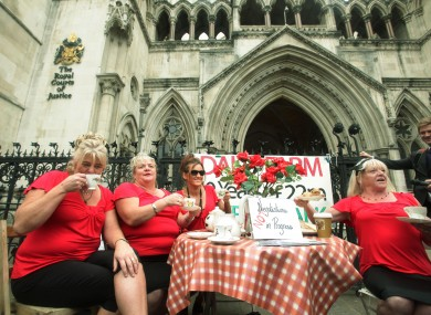 Margaret, Maria, Nora and Kathleen McCarthy demonstrate at the Royal Courts of Justice after losing last week's appeal against their eviction.