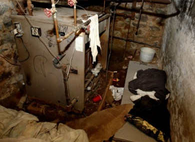 The basement room where four people were found locked inside last weekend.