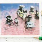 Artwork entitled Riot Police at the Pricks and Mortar exhibition by ADW. (Image: Niall Carson/PA Wire)