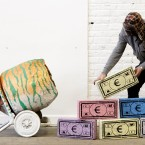 Monopoly Breeze Blocks being put into position in the South Studios Gallery in Dublin. (Image: Niall Carson/PA Wire)
