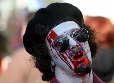 Some topical facepaint was displayed at today's Brighton Zombie Walk in East Sussex.