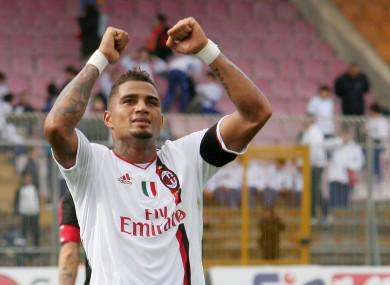 Kevin-Prince Boateng celebrates his hat-trick for AC Milan against Lecce. A late comeback saw Milan win the game 4-3.