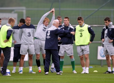 The Irish team train ahead of the game today.
