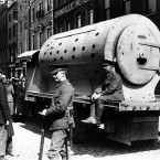 An improvised armoured car built by the British Army during the 1916 Rising - this one was made by bolting together four boilers from the Guinness Brewery and mounting on a flatbed truck. Image: Mercier Archives.