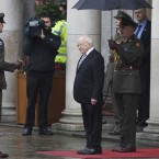 President Michael D Higgins, who is now Commander in Chief of the Irish Defence Forces, is invited to inspect a Defence Forces Guard of Honour after his inauguration at Dublin Castle. Image: Eamonn Farrell/Photocall Ireland