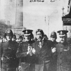 The RIC and Dublin Metropolitan Police arresting trade union organiser James Larkin during the 1913 Dublin Lockout. Larkin had disguised himself with a beard and tried to address a meeting in Sackville (now O'Connell) St from a hotel window but was arrested. Image: Mercier Archives.