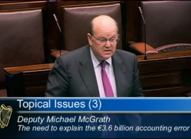 Michael Noonan explaining the accounting error in the Dáil this evening