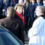 Irish President Mary McAleese arrives for the funeral of Michaela McAreavey on 17 January 2011.  Michaela, the daughter of Tyrone football manager Mickey Harte, was murdered while on honeymoon in Mauritius.   (Paul Faith/PA Archive/Press Association Images)