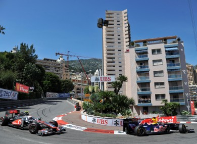 Button, left, on the streets on Monte Carlo last May.