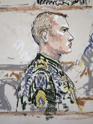 Calvin Gibbs is shown in this courtroom sketch