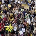 Some of yesterday's Occupy Oakland protesters marching in the city. (AP Photo/Ben Margot)