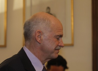 Outgoing Greek prime minister George Papandreou