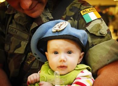 Cpl Derek Carlin with his daughter, Kaylah, at Dublin Airport