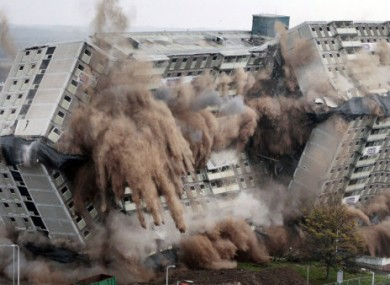 Glencairn Tower flats in Motherwell, Scotland were pulled down in a planned demolition today.
