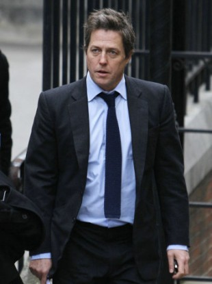 Hugh Grant arriving to give evidence today.