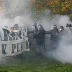 This morning's clashes between riot police and anti-nuclear protesters. (AP Photo/David Vincent/PA Images)