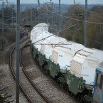 The train carrying 11 containers of nuclear waste, called CASTORs, leaves Valognes tpday. (AP Photo/David Vincent/PA Images)