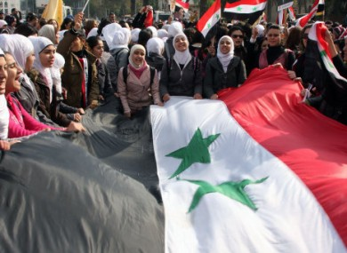 Assad supporters protest the Arab League's meeting today.
