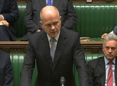 Foreign Secretary William Hague gives a statement to the House Commons following the attack on the British Embassy in Tehran, Iran.