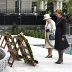 The Queen and Mary McAleese visited the Garden of Remembrance for a Wreath Laying Ceremony in Dublin.   This picture captured an important moment during the State visit as the Queen bowed her head and observed a minute of silence.   (Arthur Edwards/The Sun)