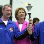 The torch arrives at Áras an Uachtaráin in June 2003.  (Photocall Ireland)