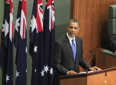 Barack Obama addresses the Australian Parliament in Canberra on Thursday