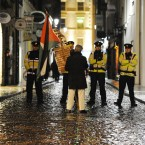 Anti Israeli protesters and gardaí outside Filmbase in Temple Bar on November 24 (Sasko Lazarov/Photocall Ireland)