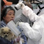 A woman holds her dog as they are scanned for radiation at a scanning centre for residents living close to the Fukushima Dai-ichi nuclear plant on 16 March, 2011. (AP Photo/Gregory Bull/PA Images)