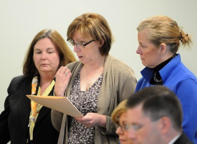 Anne O'Brien, mother of Phoebe Prince, center, delivers a victim impact statement at a hearing in Franklin - Hampshire Juvenile Court in Massachusetts earlier this year