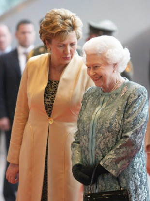 President Mary McAleese speaking to Queen Elizabeth II during her state visit to Ireland in May.