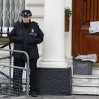 A British police officer stands guard outside the Iranian embassy in London on Thursday. (Image: AP Photo/Kirsty Wigglesworth/PA Images)