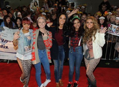 Little Mix (left to right, Leigh-Anne Pinnock, Perrie Edwards, Jade Thirlwall and Jesy Nelson) pictured with mentor Tulisa Contostavlos (centre).