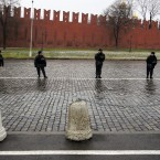Police guard the Red Square area during the protest (AP Photo/Sergey Ponomarev)